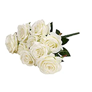 Moore Artificial Flower Fake Floral Rose 9 Heads Bridal Wedding Bouquet for Home Garden Party Wedding Hotel Festival Decoration (#5) 44