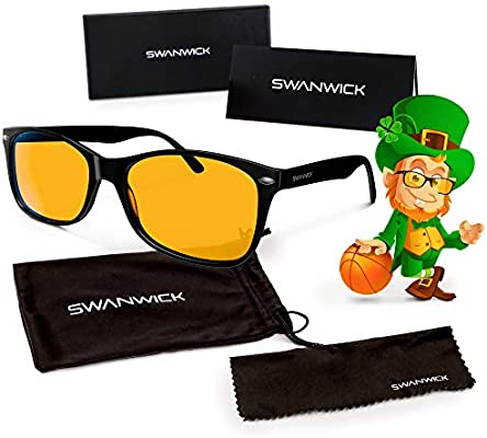 5a502a61f29 Amazon.com  Swannies Blue Light Blocking Computer Glasses with Orange Lens  for Night Use - UV Protection Anti Eye Strain Tired Eye Relief (Black)  Large  ...