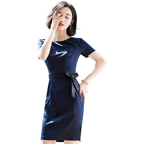 MiGMV?Robes t Robe, Jupe, Robe  Manches Courtes, LO, Jupe, vtements de Travail,4XL,Robe raye Bleu