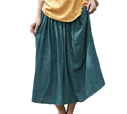 Simple Style Retro Lin Dress Summer Jupe en Vert Chinois Lady Pur 0n5qqx8