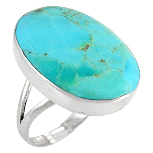 Turquoise Ring in Sterling Silver 925 & Genunie Turquoise Size 5 to 11 (12)