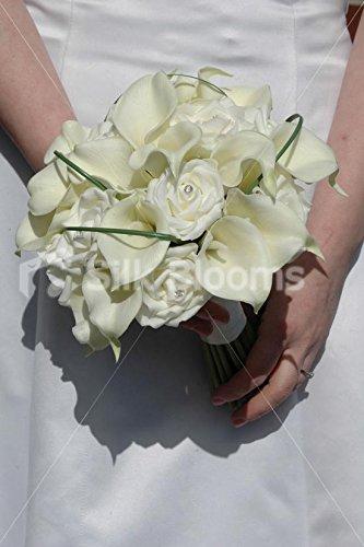 Bouquet Sposa Rose E Calle.Silk Blooms Ltd Bouquet Da Sposa Avorio Con Rose Calle E