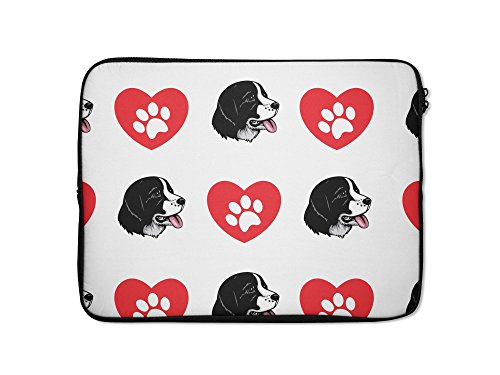 Landseer Dog Heart Paws Laptop Sleeve Case Bag - 7 Inch