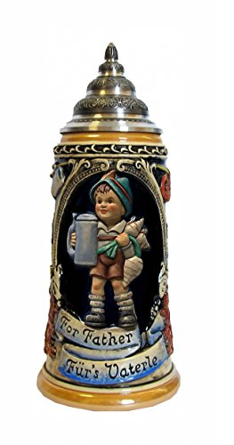 German Beer Stein MI Hummel Stein, for fathers, 0.75 liter tankard, beer mug KI 202/1HUM 0,75L by ISDD Cuckoo Clocks