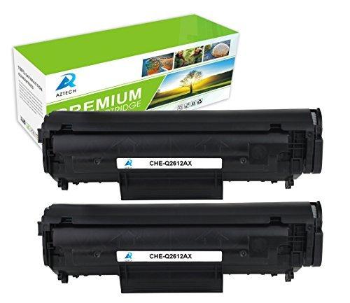 Aztech 2 Pack Replaces 12X Q2612X Black Toner Cartridge 2,000 +1,000 Pages For LaserJet 1012 1022 1020 3015 1018 Printer