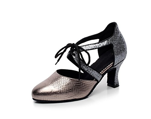 Tango Women's Salsa Pumps QJ7047 Grey Lace up Latin Tie Synthetic Dance Minishion 76qw58x