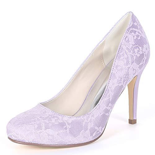 Bridal yc Mujer Zapatos De Honor L Redondo Dedo Chunky Pie Boda Dama Del Seda Toe Cerrado 9cm Purple Fy562 PAFBgnwq