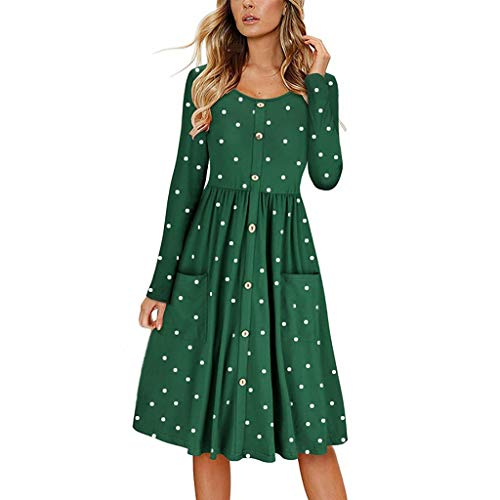 Peacur Women Long Sleeve Dresses Fashion O Neck Dot Print Button Casual Midi Dress with Pockets (Army Green, XXL) ()