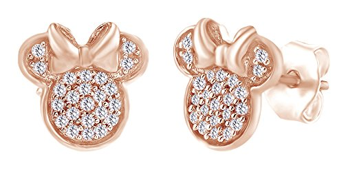 Sparkling Round Shape White Cubic Zirconia Minnie Mouse Stud Earrings In 14K Rose Gold Over Sterling Silver