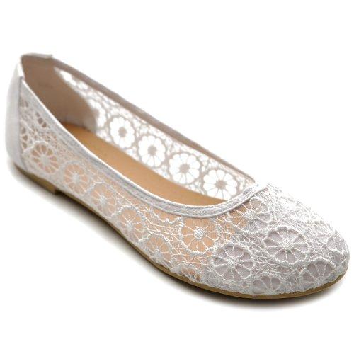 Ollio Women's Ballet Shoe Floral Lace Breathable Flat ZM1022(7 B(M) US, - Soho Lace Sneakers