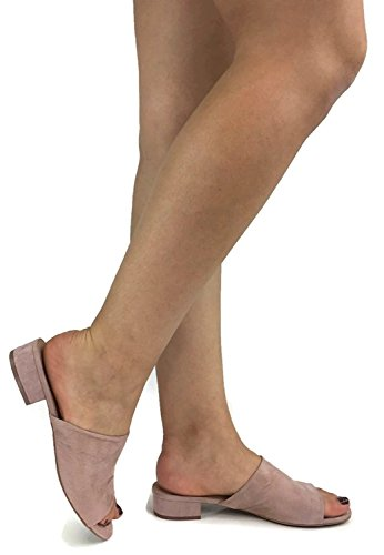 City Classified Womens Stylish Open Toe Chunky Low Heel Faux Suede Leather Slip on sandals Dusty Rose 8.5