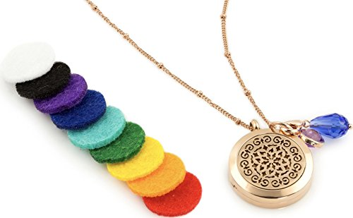 """Price comparison product image 1 Rose Gold Essential Oil Diffuser Necklace - Aromatherapy Jewelry - Hypoallergenic 316L Surgical Grade Stainless Steel,  20.8"""" Chain + 9 Washable Insert Pads + Charms"""