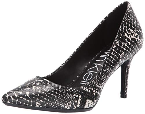 Calvin Klein Women's Gayle Pump black/white shiny snake 11 M US