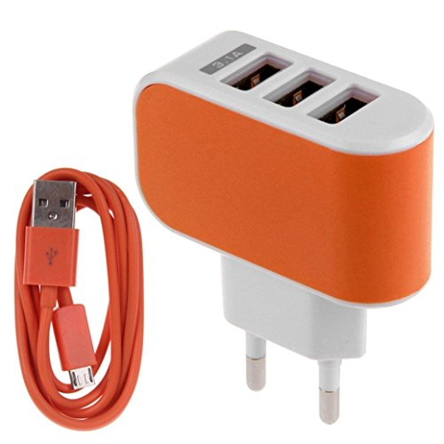 Lefthigh 3.1A Triple USB Port Wall Home Travel AC Charger Adapter EU + Micro USB Cable (Orange 7' Plastic Plates)