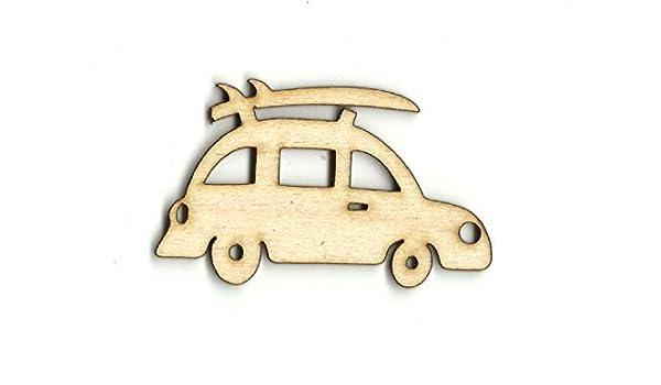 Coche con tabla de surf corte láser, coche con silueta de tabla de surf, coche con forma de madera de tabla de surf, coche con decoración de tabla de surf, ...