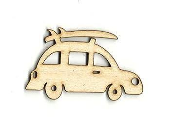 Coche con tabla de surf corte láser, coche con silueta de tabla de surf,