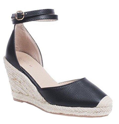 Sandalias Correa Damas Tobillo cuña Hebilla Zapatos Plataforma SHU de CRAZY N37 Tacón Alpargata Negro Mujer Tacón TqwyFO