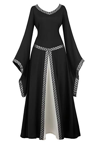 Famajia Womens Medieval Renaissance Costume Cosplay Victorian Vintage Retro Gown Long Dress Black X-Large ()