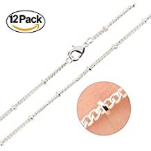 Wholesale 12PCS Silver Plated Brass Beaded Ball Satellite Chains Bulk for Jewelry Making 16-30 Inches (16 Inch(1.5MM))