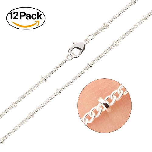 Wholesale 20 Jewelry Fine (Wholesale 12PCS Silver Plated Solid Brass Beaded Ball Satellite Chains Necklace Bulk Fine Chain for Jewelry Making 16-30 Inches (20 Inch(1.5MM)))