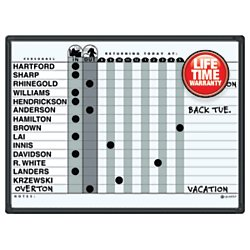Quartet Grey DuraMax Porcelain In/Out Personnel Board System, 15 Names, 18 x 24 Inches, Black Aluminum Frame (781G)
