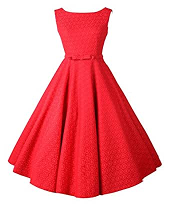 iLover Classic Vintage Audrey Hepburn Style 1950's Rockabilly large hem Evening Dress