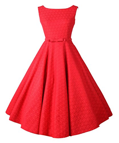 [iLover Classic Vintage Audrey Hepburn Style 1950's Rockabilly large hem Evening Dress,Red,3X] (Plus Size Evening Wear)