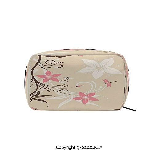 Rectangle Beauty Girl And Women Cosmetic Bags Floral Background with Dragonflies and Spiral Fashioned Foliage Bud Elements Print Printed Storage Bags for Girls Travel ()