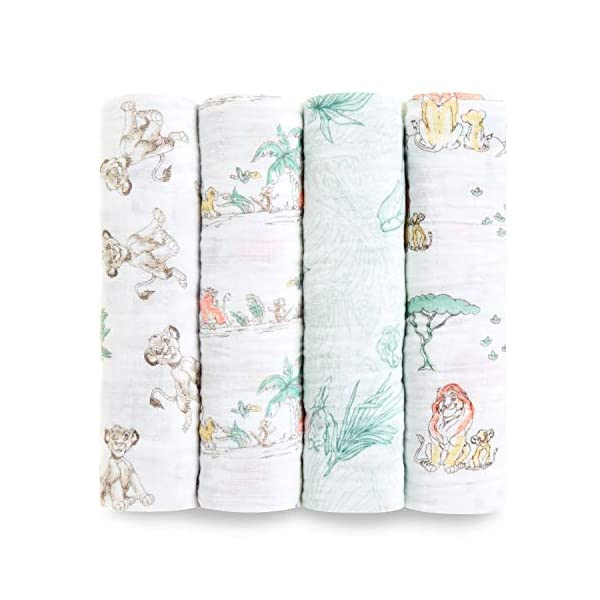 aden + anais Disney, Swaddle Blanket | Boutique Muslin Blankets for Girls & Boys | Baby Receiving Swaddles | Ideal Newborn & Infant Swaddling Set | Perfect Shower Gifts, 4 Pack, Lion King