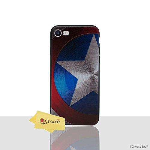 iPhone 7 3D Marvel Estuche de Silicona / Cubierta de Gel para Apple iPhone 7 (4.7) / Protector de Pantalla y Paño / iCHOOSE / Deadpool - Corazón Captain America - Proteger