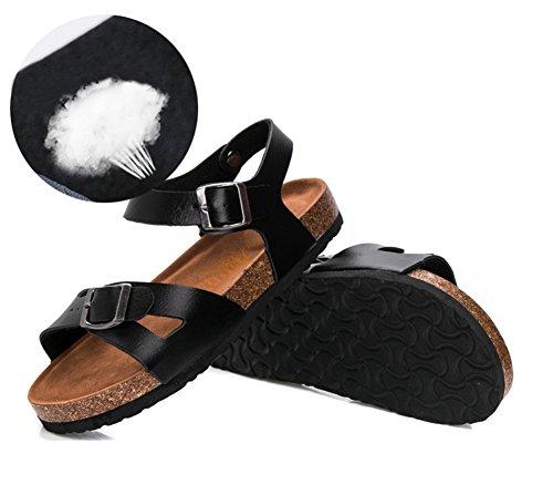 Sandalias de verano de las mujeres Zapatos Sandalias Planas Zapatos De Damas de plataforma Zapatos de la playa Negro