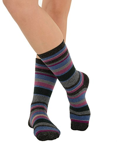 Cashmere Blend Crew Socks (Cashmere Blend Striped Socks Crew 9 Colors Available Womens Soft and Warm Color:: Charcoal)