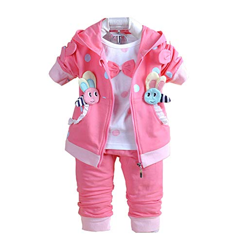 YAO Baby Girls 3 Piece Sets T Shirt Vest and Pants (18-24Months, Hot Pink) - Sweater Baby Set