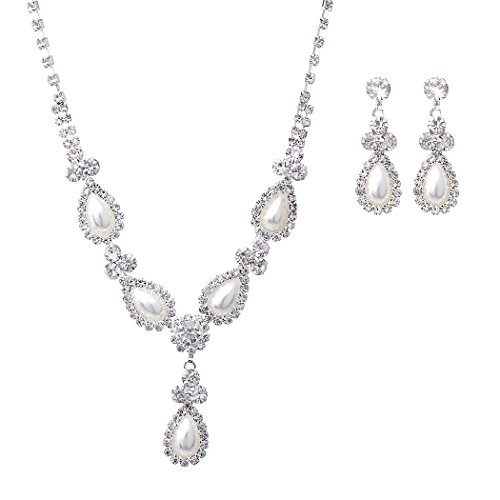 Rosemarie Collections Women's Teardrop Faux Pearl and Crystal Bridal Jewelry - Necklace Teardrop Faux