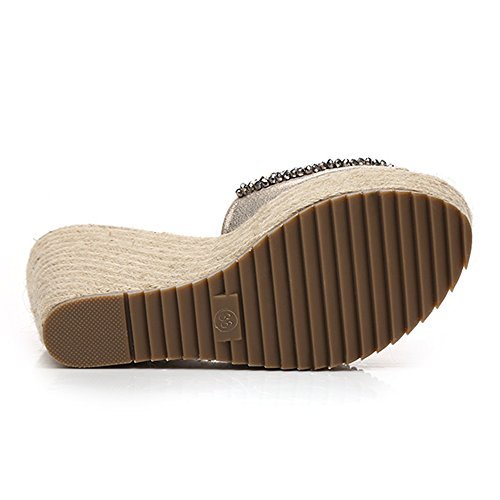Sandals Feifei Summer Women's Waterproof Platform Rhinestone Thick Bottom Slippers Bohemia Non-Slip Comfortable Open Toe Slope Shoe 10CM Gold s3UGrUml