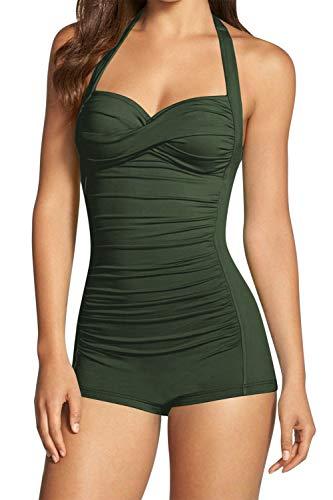 (Sovoyontee Women's One Piece Tummy Control Swimwear Boyleg Ruched Swimsuit Army Green S)