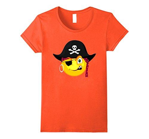 Womens Funny Halloween Pirate Emoji For Cute Costume Horror Night Large (Homemade Womens Pirate Costume)