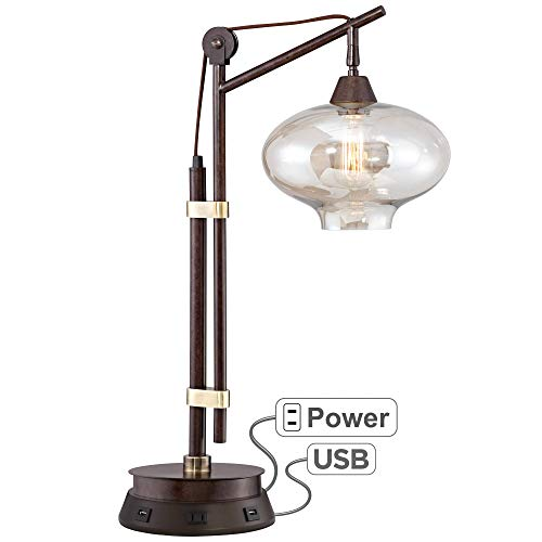 Calyx Industrial Bronze Desk Lamp with Workstation Base - Franklin Iron Works