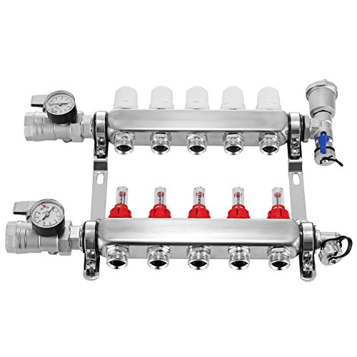 Mophorn Radiant Floor Manifold Set 5 Loop 1/2 Inch PEX Manifold Kit Stainless Steel 5 Branch Radiant Floor Heating Manifold Automatic Air Vent Manifold for 1/2