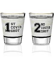 HAMILO 1st & 2nd Covid Shot Glass Set of 2, 2oz Cute Funny Shot Glasses, Quarantine Gifts For Women And Men, Shot Glasses for Birthday, Christmas, Halloween, Mom, Dad, Nurse, Teacher, Brother, Friend