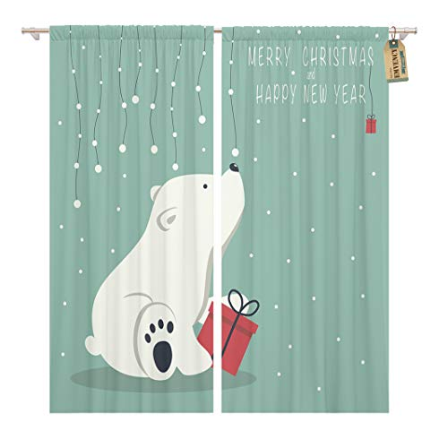 (Golee Window Curtain The Depicts Seated Little Polar Bear Box Garland Home Decor Rod Pocket Drapes 2 Panels Curtain 104 x 63 inches)