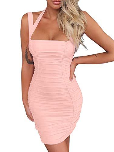 - BEAGIMEG Women's Sexy Halter Tank Top Ruches Sleeveless Bodycon Party Mini Dress Pink