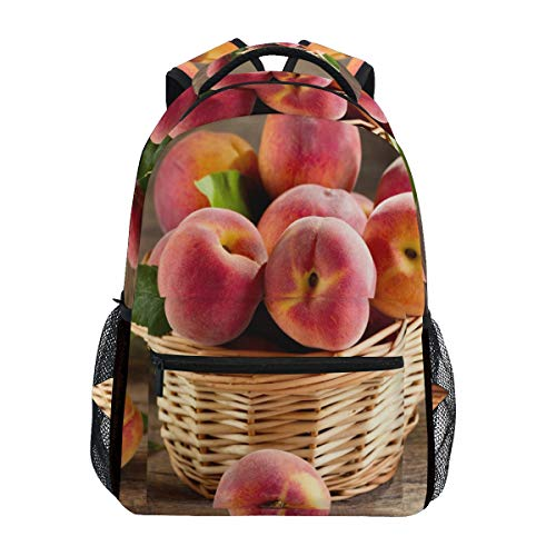Peach Fruits Basket School Backpack Large Capacity Canvas Rucksack Satchel Casual Travel Daypack for Children Adult Teen Women Men