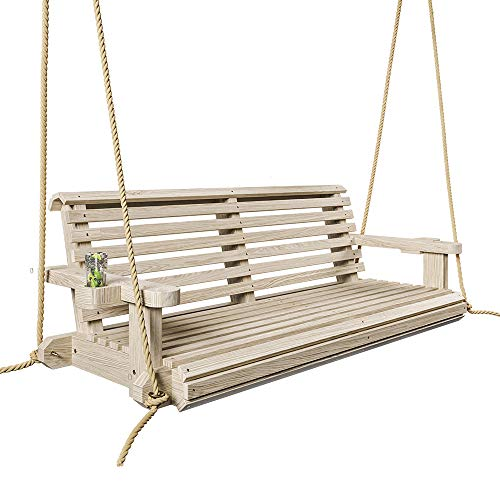 Porchgate Amish Heavy Duty 800 Lb Roll Comfort Treated Porch Swing W/Ropes (5 Foot, Unfinished)