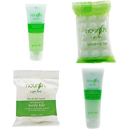 Nourish Spa Line Green Tea BNB Amenity Bath & Body Sets - Soap, Shampoo, Conditioner