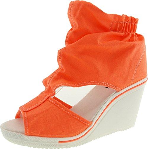 Canvas Open Toe Wedge Heel - 5