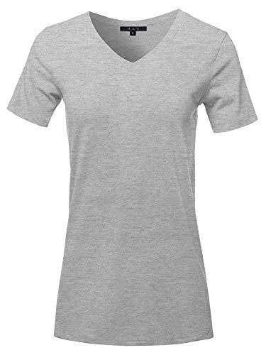 V-neck Sleeve Solid Top Short - Basic Solid Premium Cotton Short Sleeve V-Neck T Shirt Tee Tops H Grey L