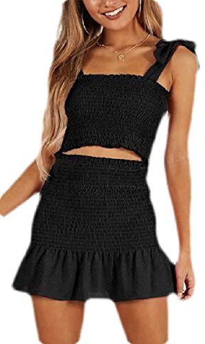 WSPLYSPJY Women Summer Ruched Smocked Bodice Crop Top and Skirt Two-Piece Mini Beach Dress Black S ()