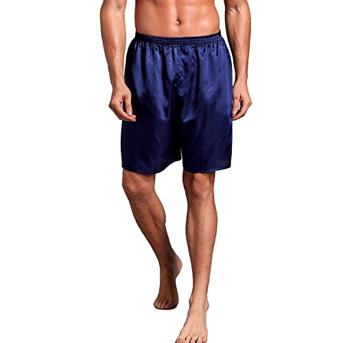 Mobarta Men's Satin Boxers Silk Sleepwear Underwear Shorts Lounge Beach Shorts Dark Blue