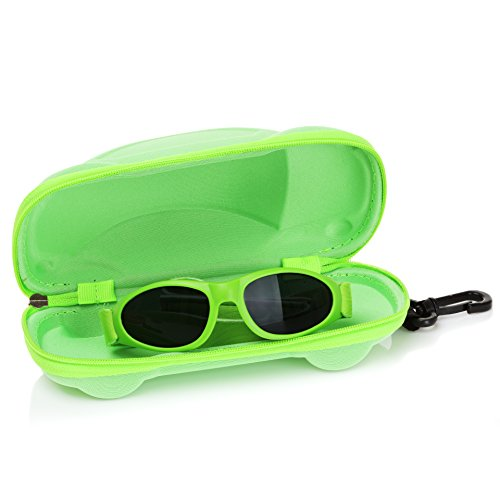Little Llama Infant Sunglasses (0 to 2 Years) with Adjustable Strap and Case - UVA/UVB Protection - Green